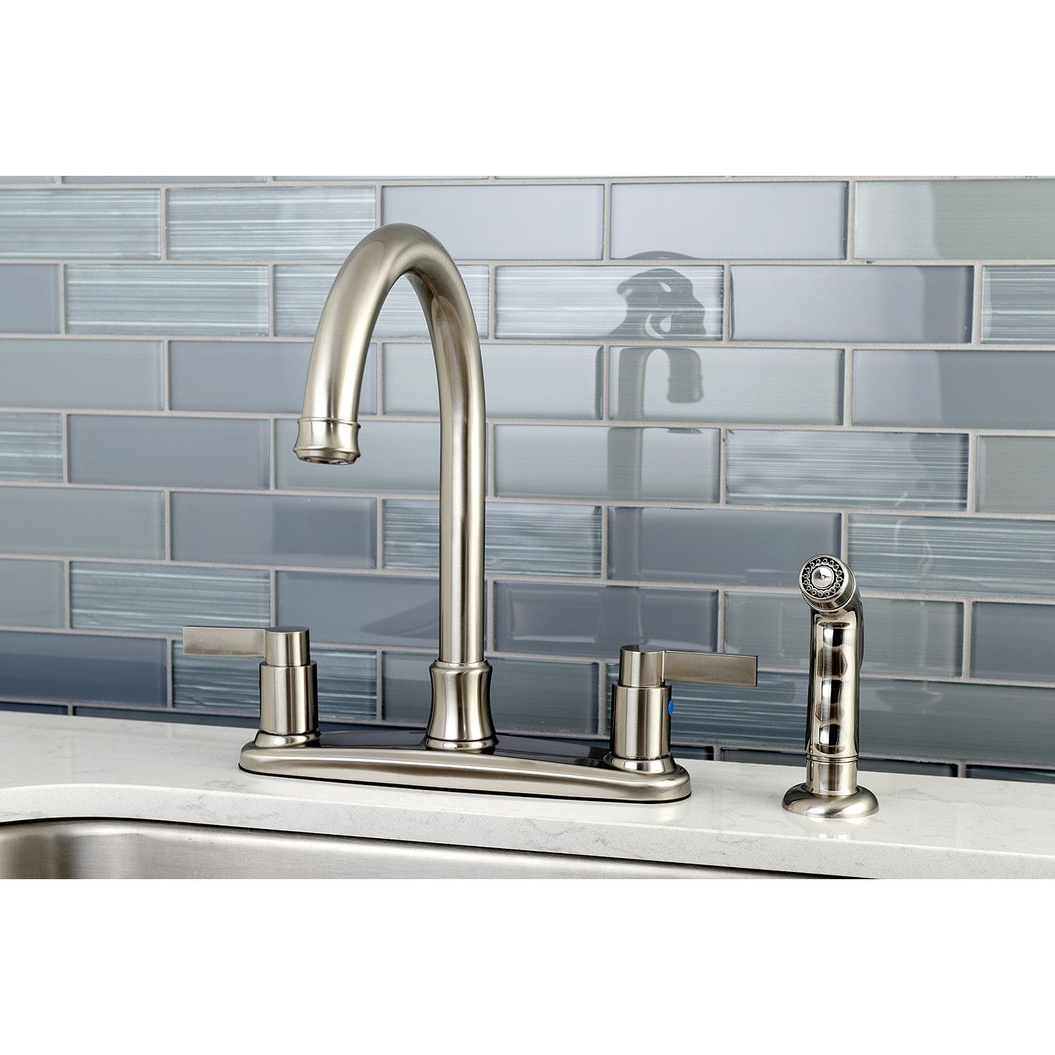 NuvoFusion Centerset Double Handle Kitchen Faucet with Side Spray