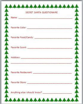 WomenS Secret Santa Questionnaire Templates  Google Search