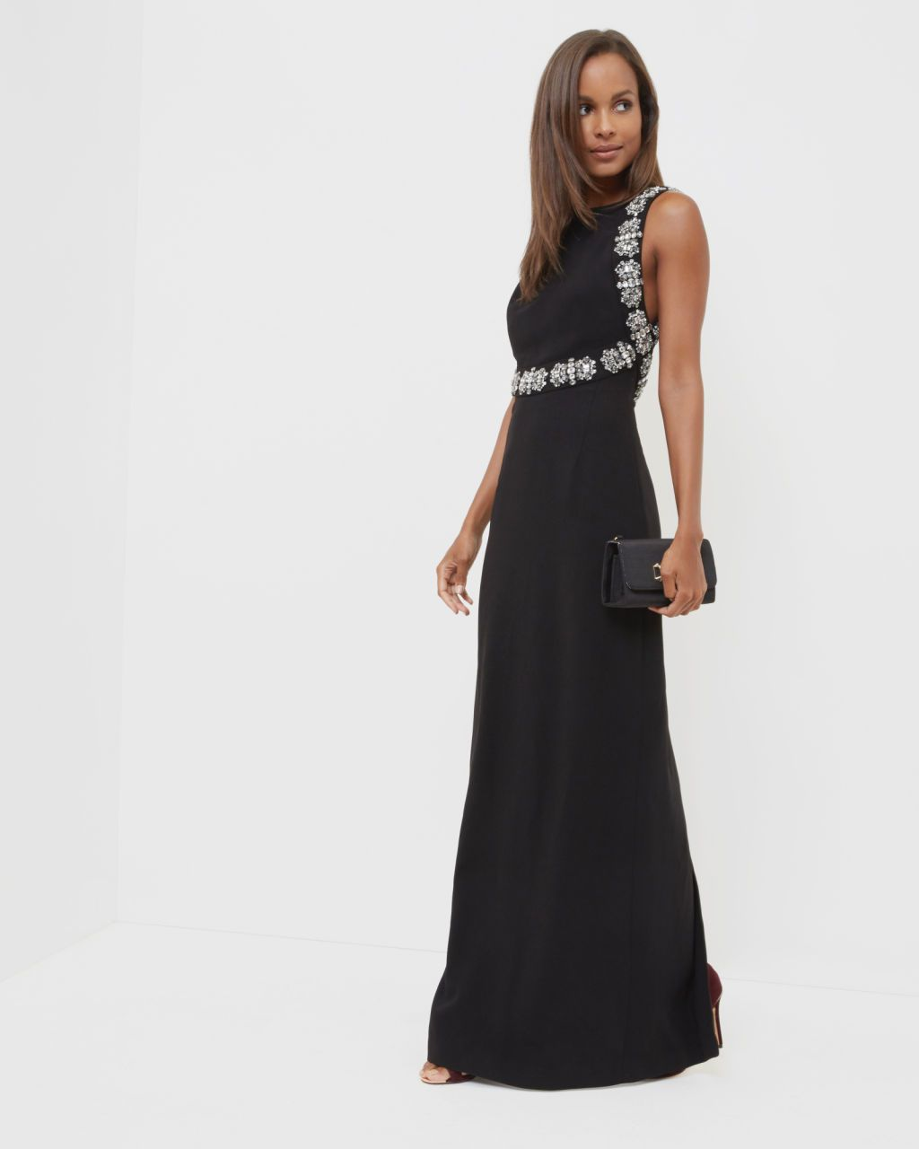 Embellished open back maxi dress - Black  e08344e34