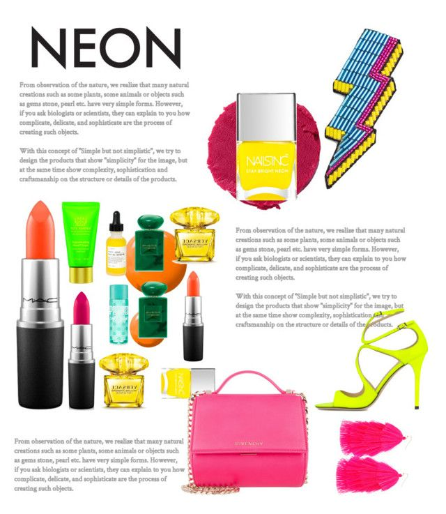 """""""neon"""" by ritaaalourenco ❤ liked on Polyvore featuring beauty, Happy Embellishments, Lipstick Queen, Topshop, MAC Cosmetics, Nails Inc., Givenchy, Tata Harper, Versace and Giorgio Armani"""