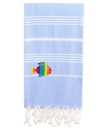 Linum Home 100 Turkish Cotton Lucky Sparkling Rainbow Fish