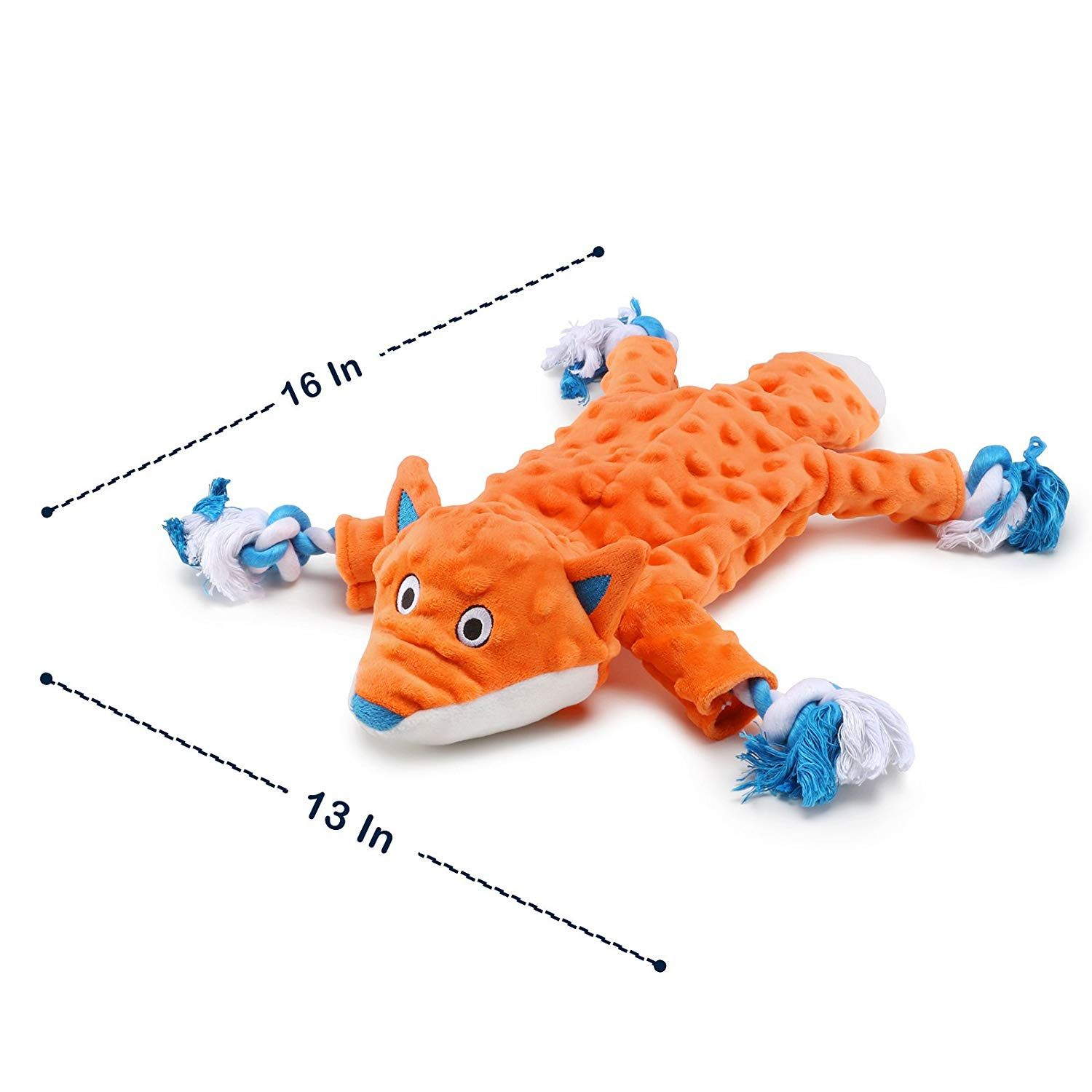 Plush Dog Toy Fox Pattern Stuffingless Dog Rope Toy With 2