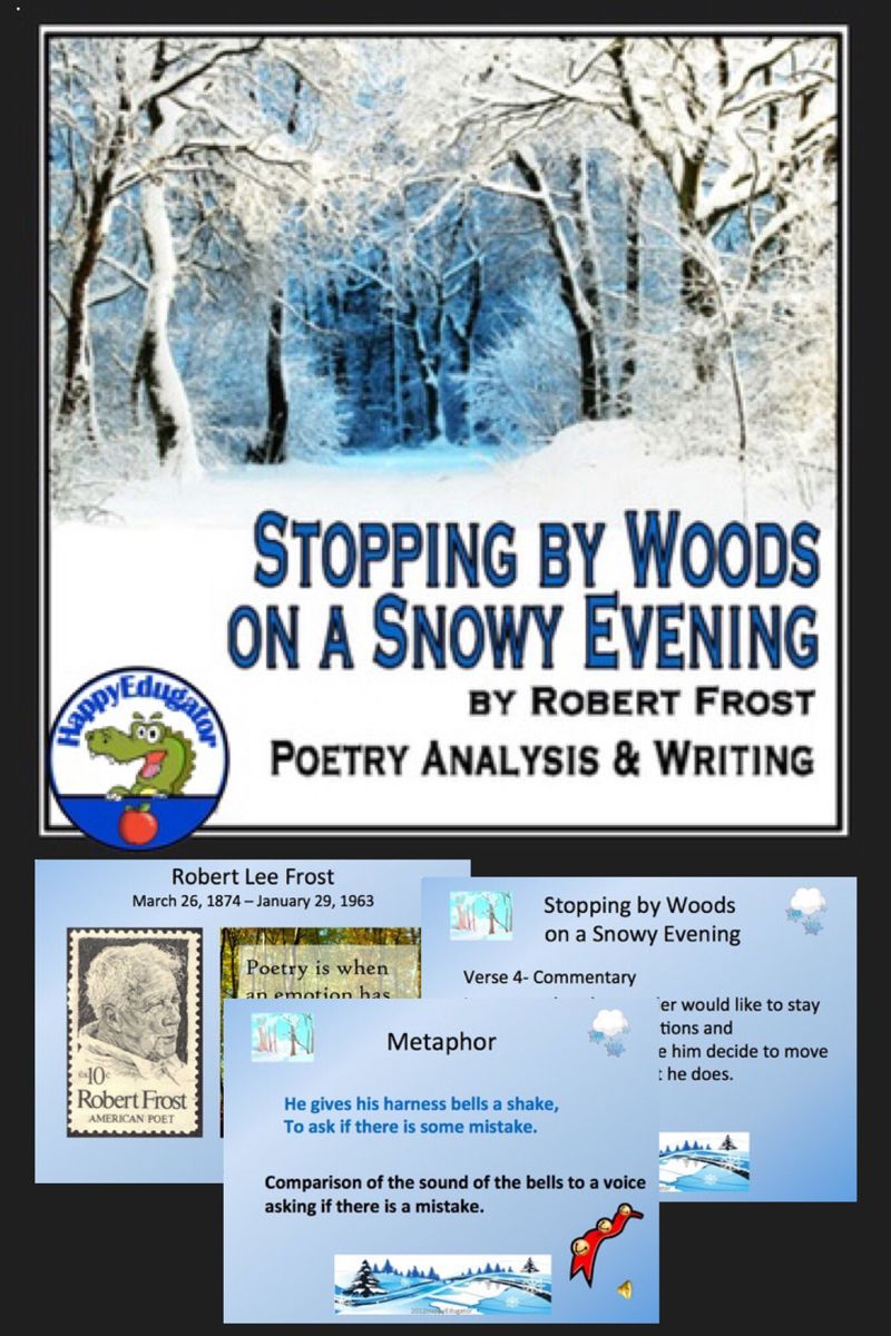 Stopping By Wood On A Snowy Evening Robert Frost Powerpoint In 2021 Poetry Analysi Citing Text Evidence Alliteration Paraphrase