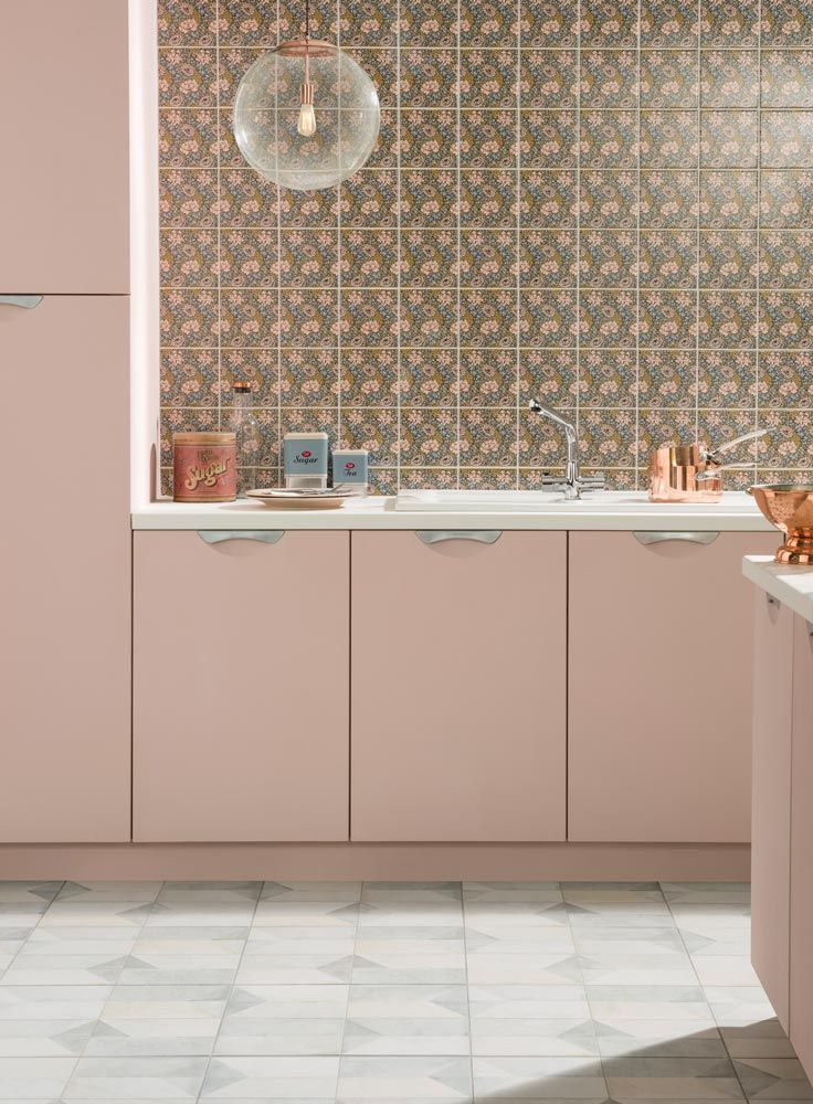 Patterned Kitchen Tiles With Pink And Rose Gold Kitchen Cupboards