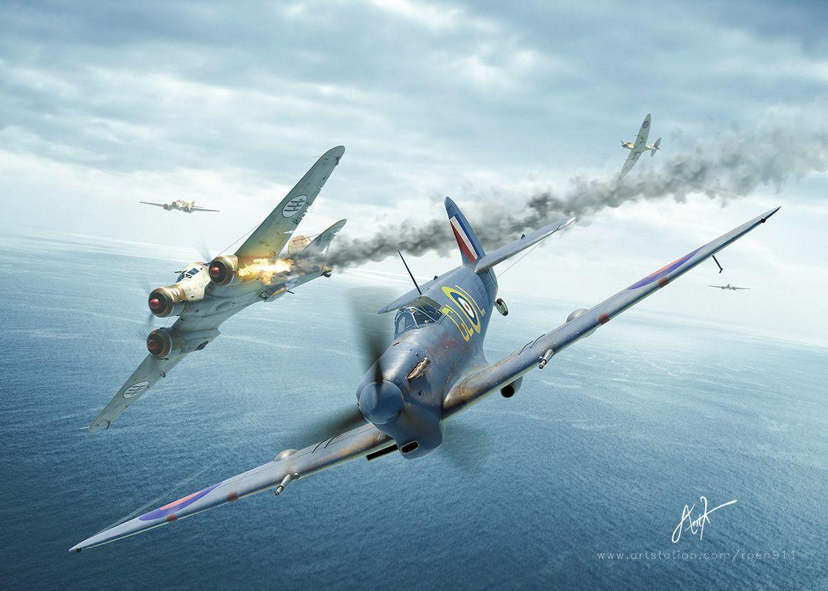 Spitfire Mk Vb shoots down a Savoia-Marchetti SM 79 Sparviero over Malta. Superb digital art by Antonis Karidis