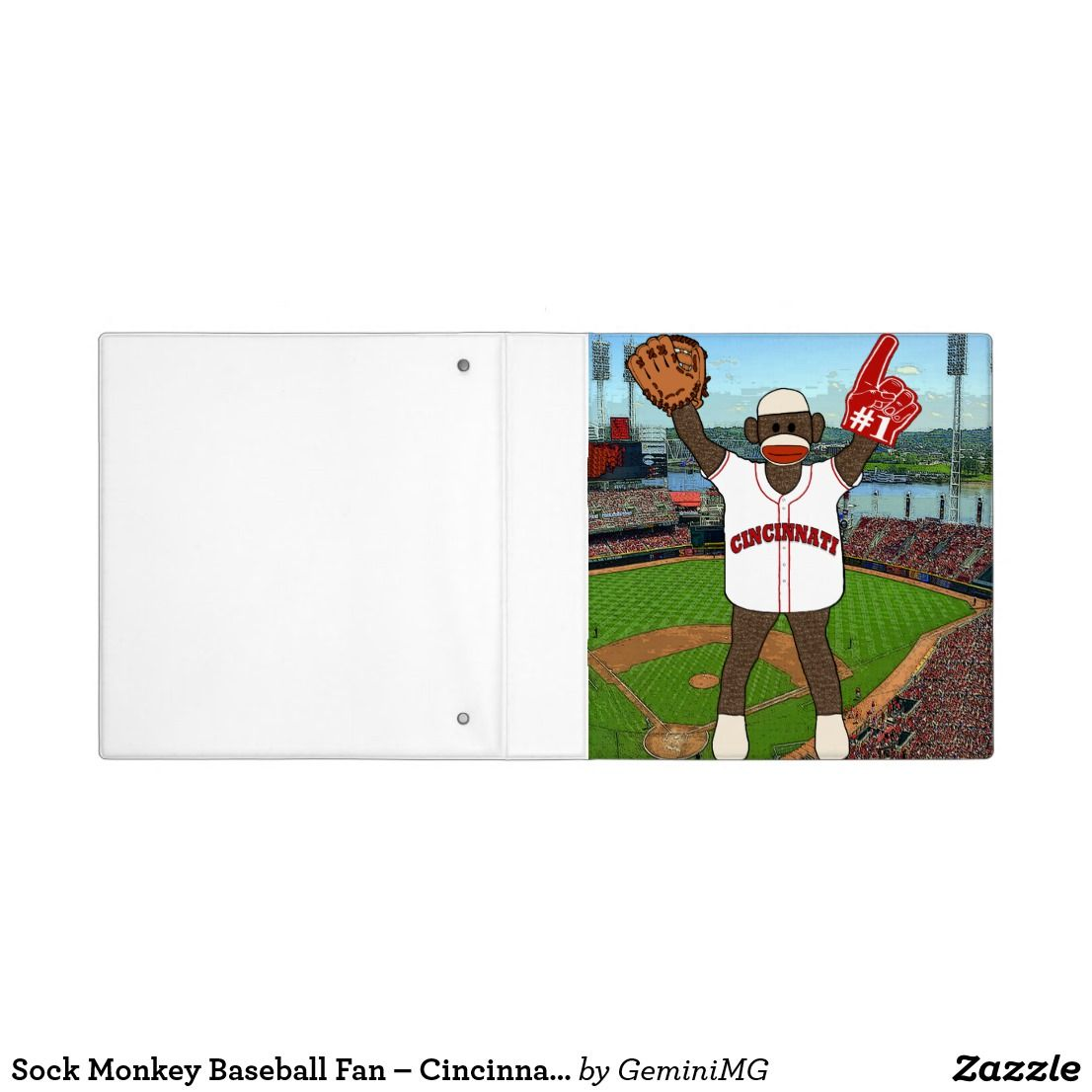 Sock Monkey Baseball Fan – Cincinnati 3 Ring Binder | Zazzle.com #sockmoneky