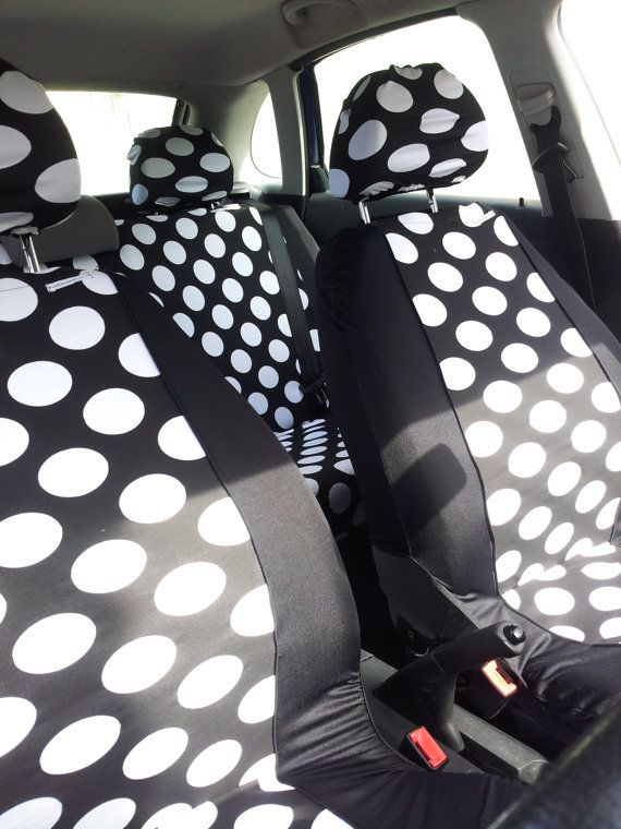 Funky Black White Polka Spot Car Seat Covers Front And Rear
