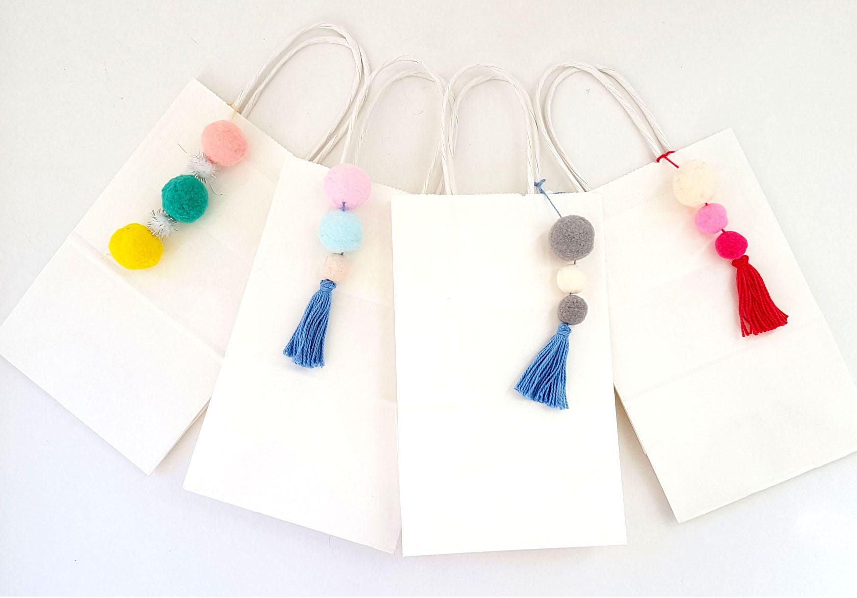 Set of 2 Wedding Favor Bags with Pompoms and Tassels / Jazzed Up ...