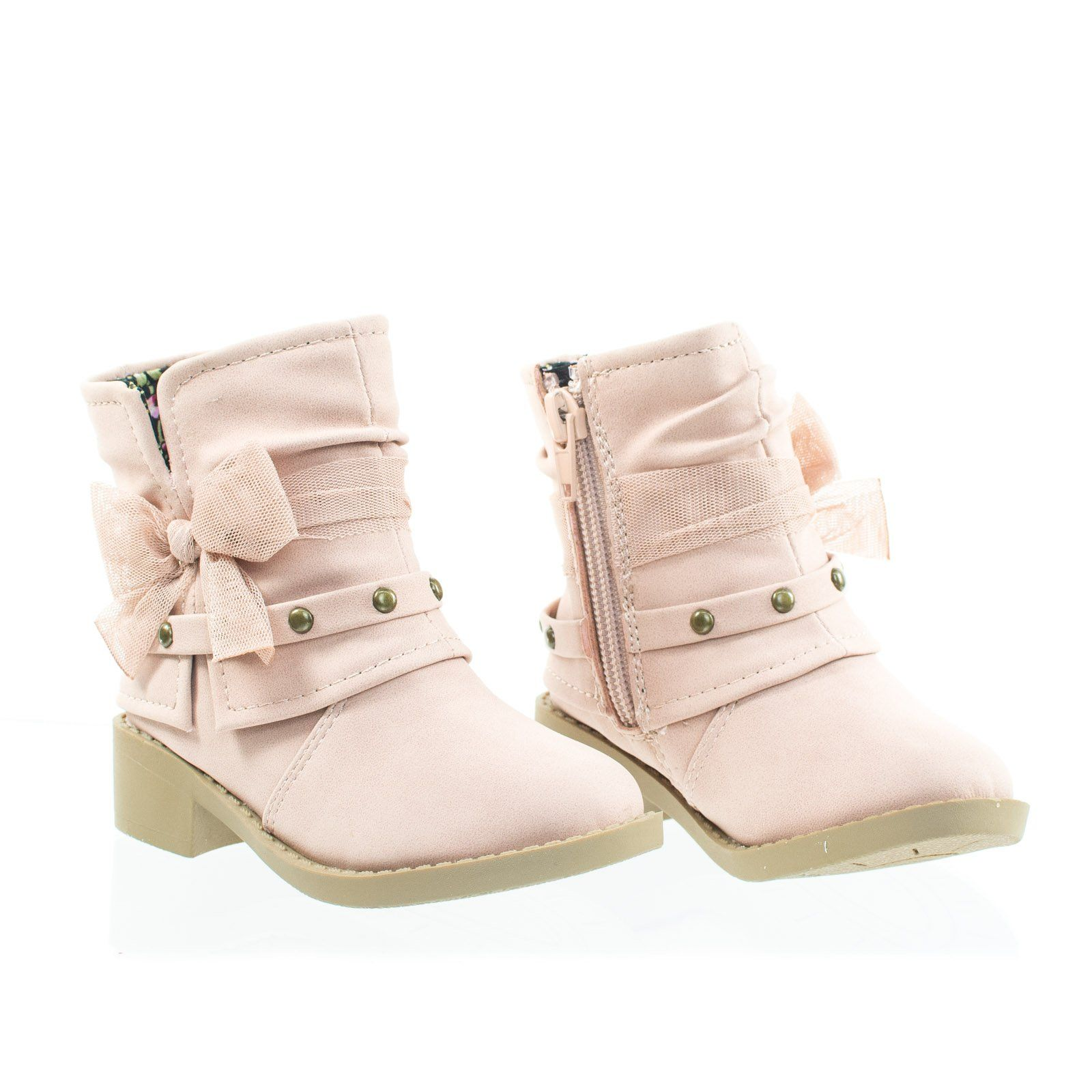 16ba7cabcdeef About This Shoes :Doll your baby girl up in these round toe ankle bootie  featuring outter side slit, layered shafts, decorative belt with metal stud  detail, ...