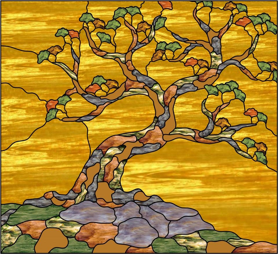 Витраж деревья картинки
