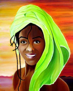 MIRADA DE NIGERIA Acrylic painting on canvas 100 cm x 86 cm
