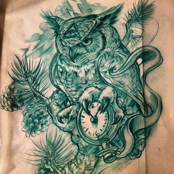 Another owl, pocket watch different client w a same idea, tried to change it up,,, #owl #tattoosketch #drawing late