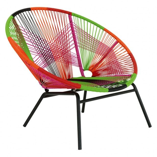 The Jambi Multi Coloured Garden Lounge Chair Is A Stunner Combining Dazzling Hues With An Intricate Woven Pattern And Architectural Shape