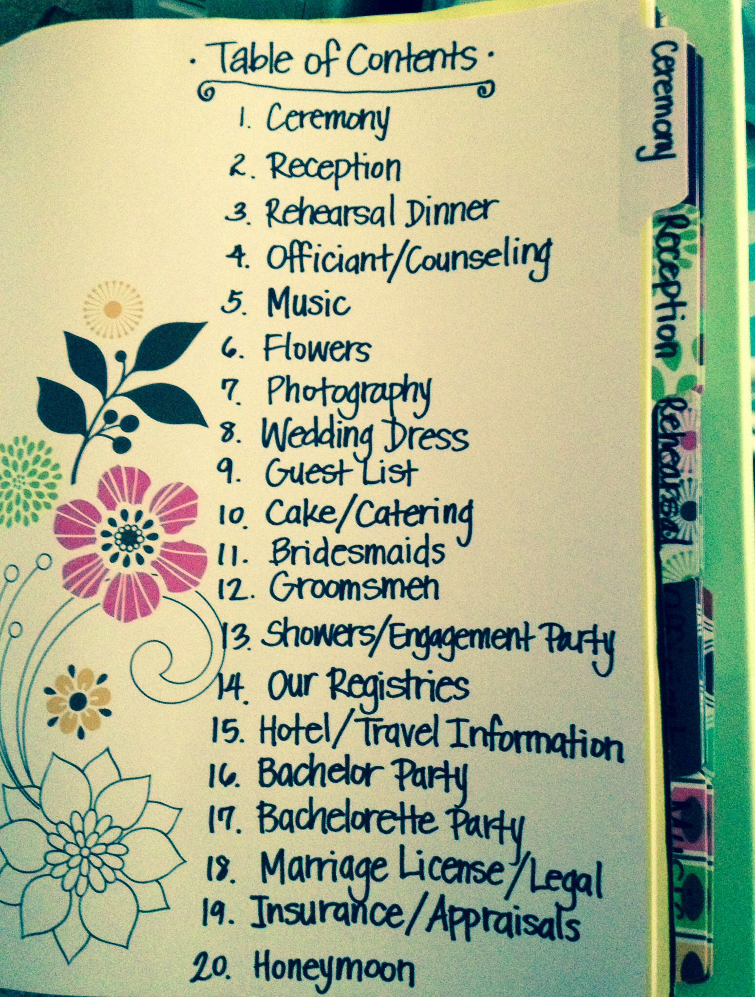 Save Lots Of Money By Making Your Own DIY Wedding Planning Binder This Was The Table Contents For My