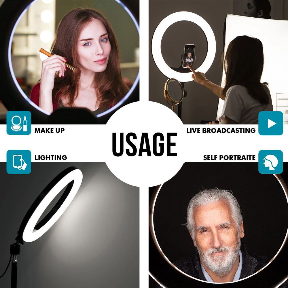 12 Led Ring Light With Tripod Stand On Bling Selfie Ring Light Led Ring Light Led Selfie Ring Light