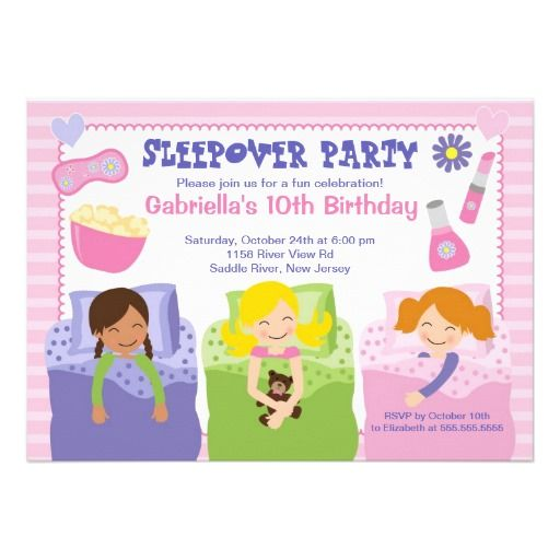 awesome Free Printable Slumber Party Birthday Invitations Get more
