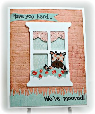 """Simply Elegant Paper Crafts blog; BasicGrey """"What's Up"""" 6x6 papers; Cricut """"Creative Cards"""" (window); TimHoltz/Sizzix embossing folder and distress ink; MS border punch (grass); glossy accents; My Pink Stamper """"Moo-ey Doodles"""" stamp set"""