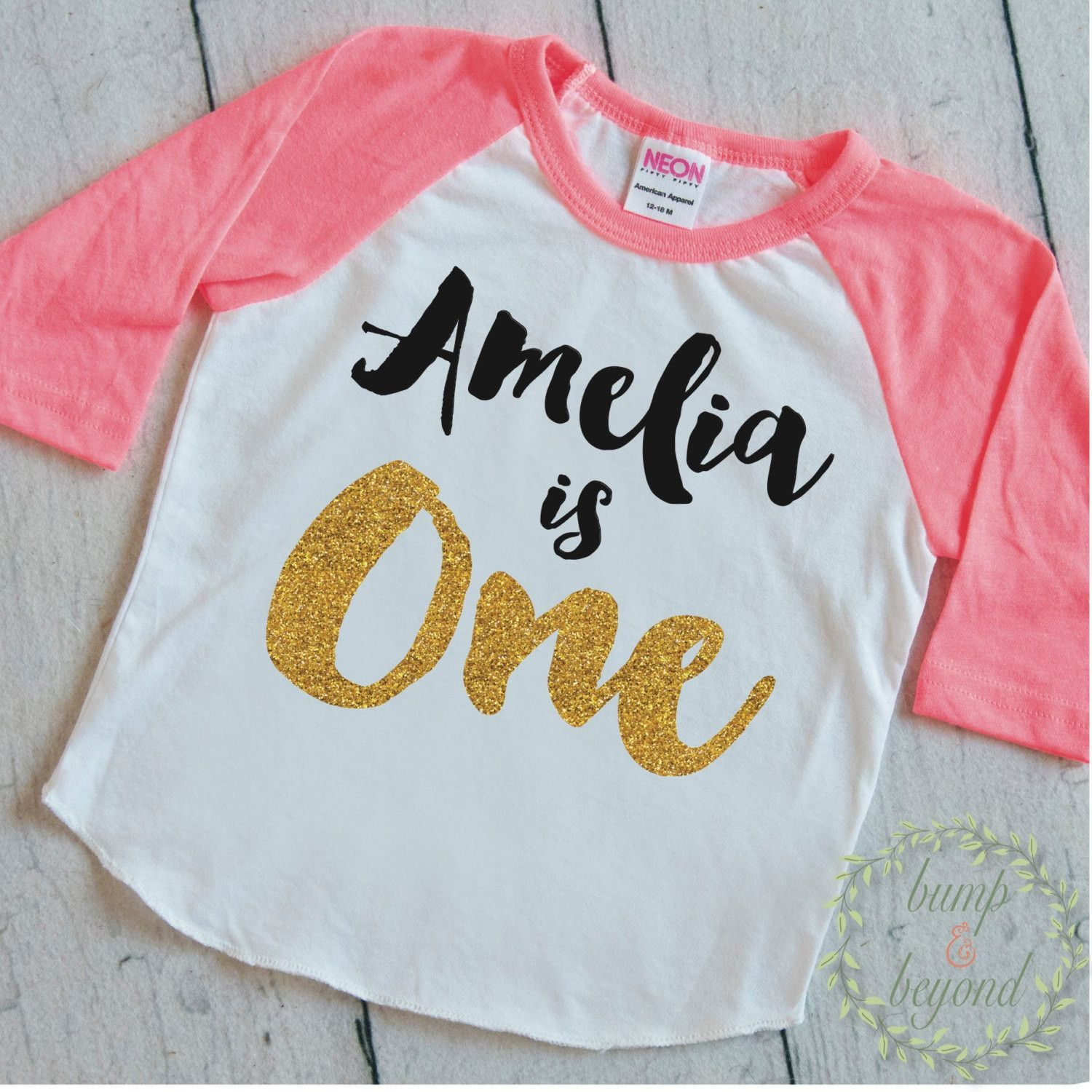 Girl First Birthday Outfit One Shirt PERSONALIZED Year Old Raglan 091