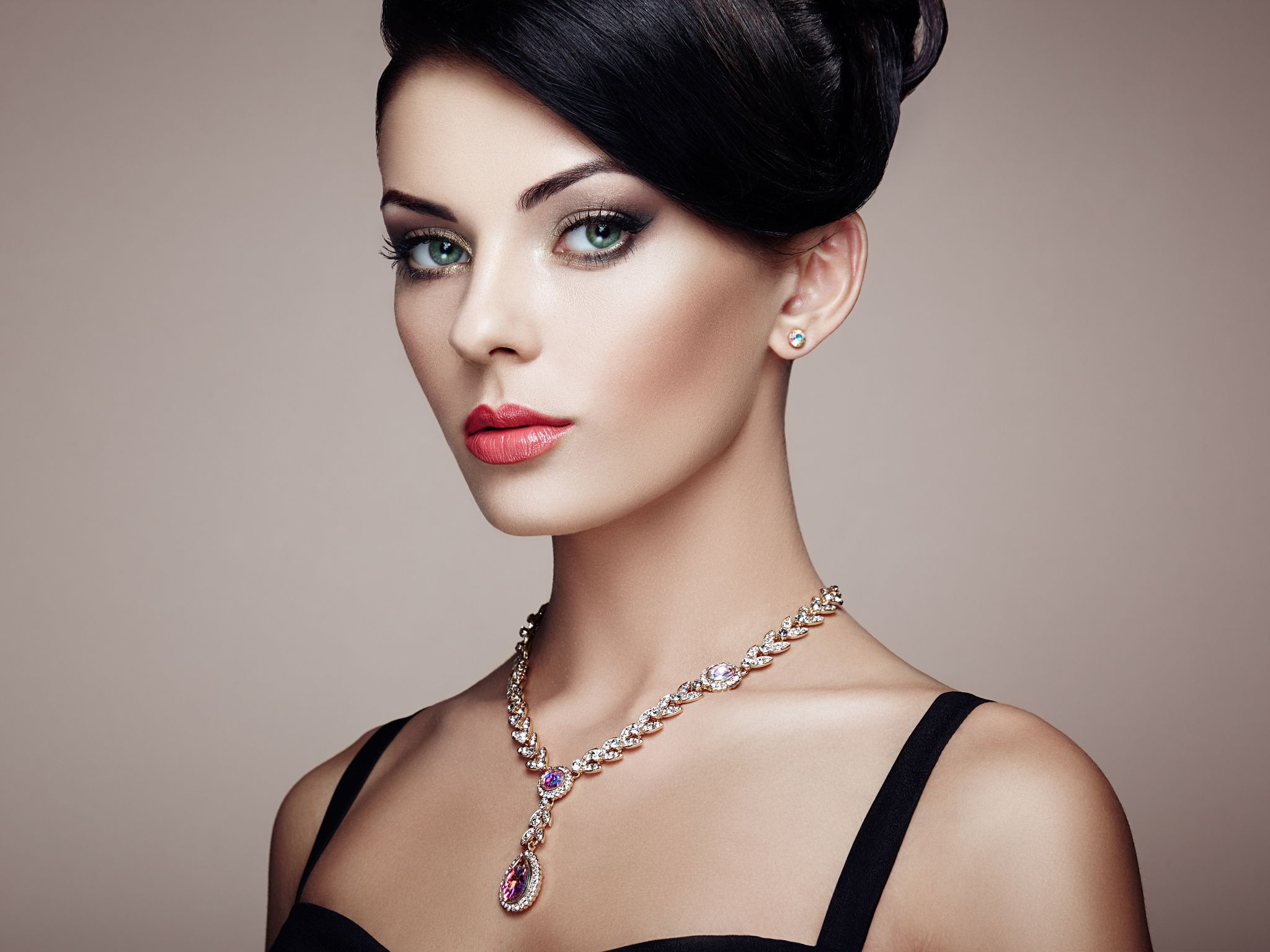 Fashion Portrait Of Young Beautiful Woman With Elegant