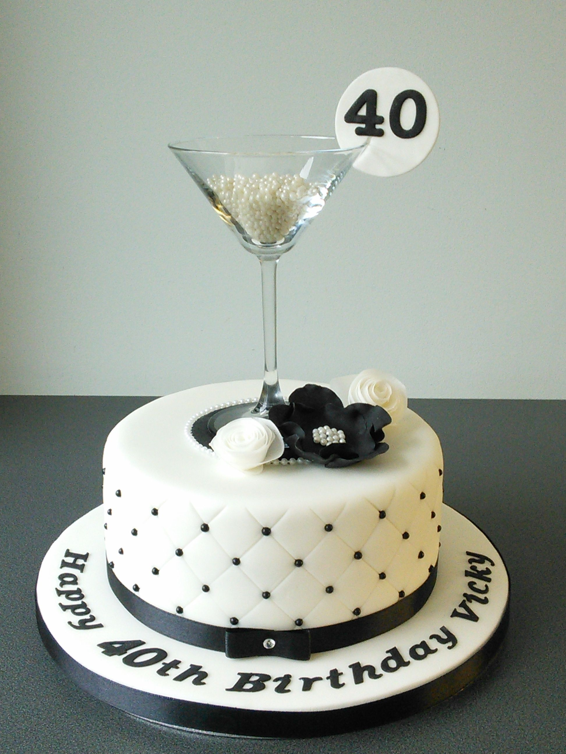 40th Birthday Cake Martini Glass Black And White Quilting Cake