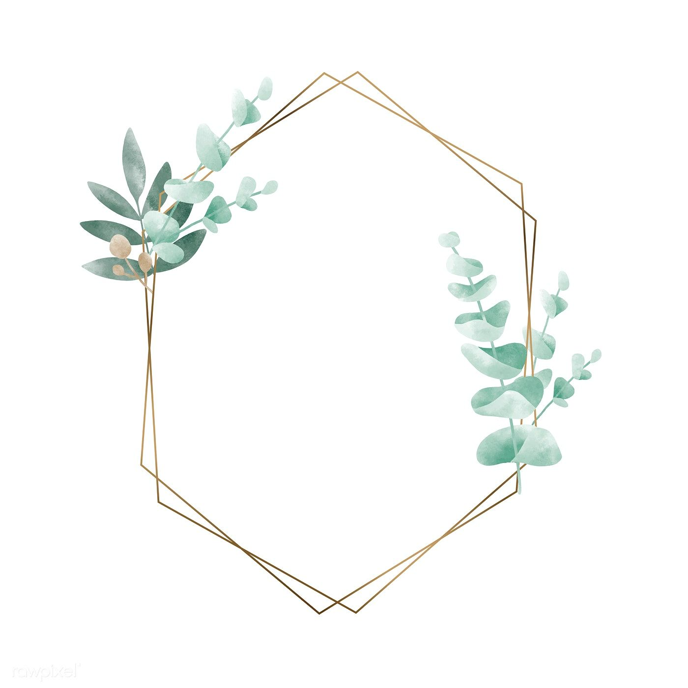 Download Premium Vector Of Geometric Frame With Leaves Vector