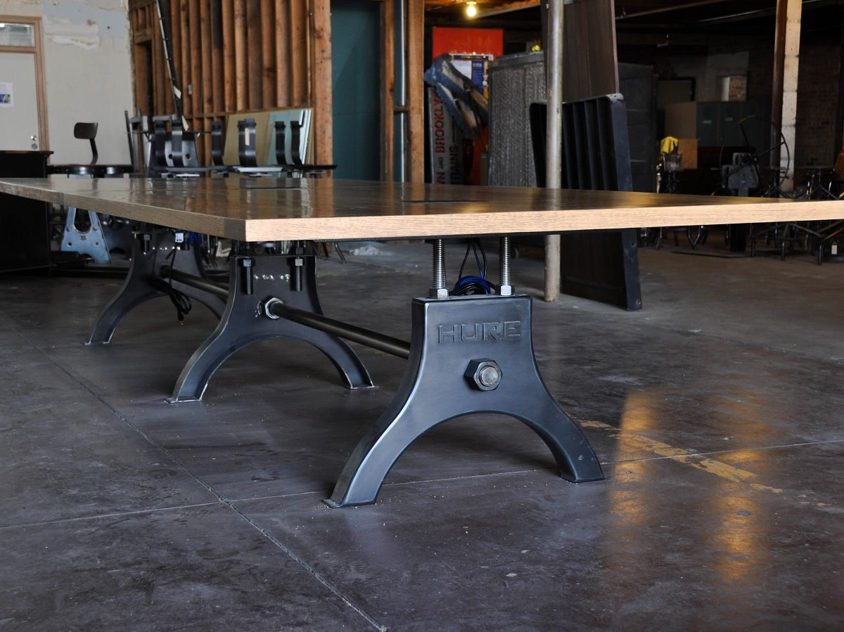 Hure conference table with faux crank vintage industrial furniture - Hure Conference Table Worn Oak Top Model Hu21 Vintage Industrial Furnitureindustrial