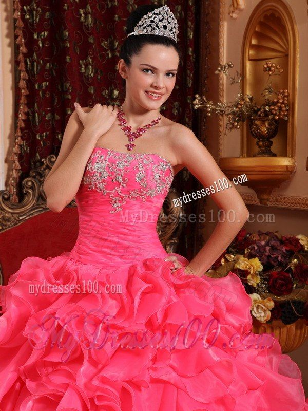 3b10a3f40e1 Strapless Style with Ruffles and Beading Hot Pink Quinceanera Dress ...