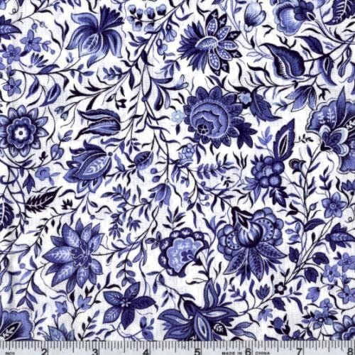 Persian Patterns: 45 Wide China Blue Persian Flower Ivory Fabric By The