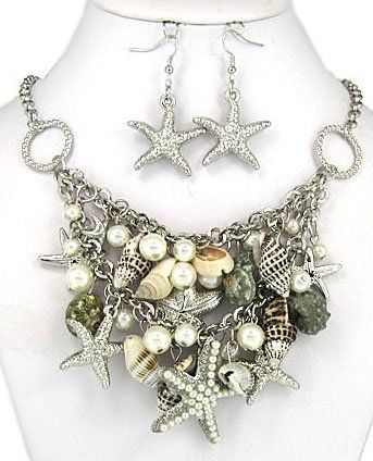 Amazon.com: Pearl Star Fish, Real Shell, Faux Pearl, Nautical Theme Cluster Gold Statement Necklace Set with Star Fish Earrings in a Gift Bo...