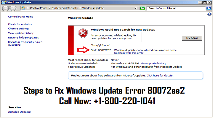 Follow the steps to fix Windows update error 80072ee2 or Call