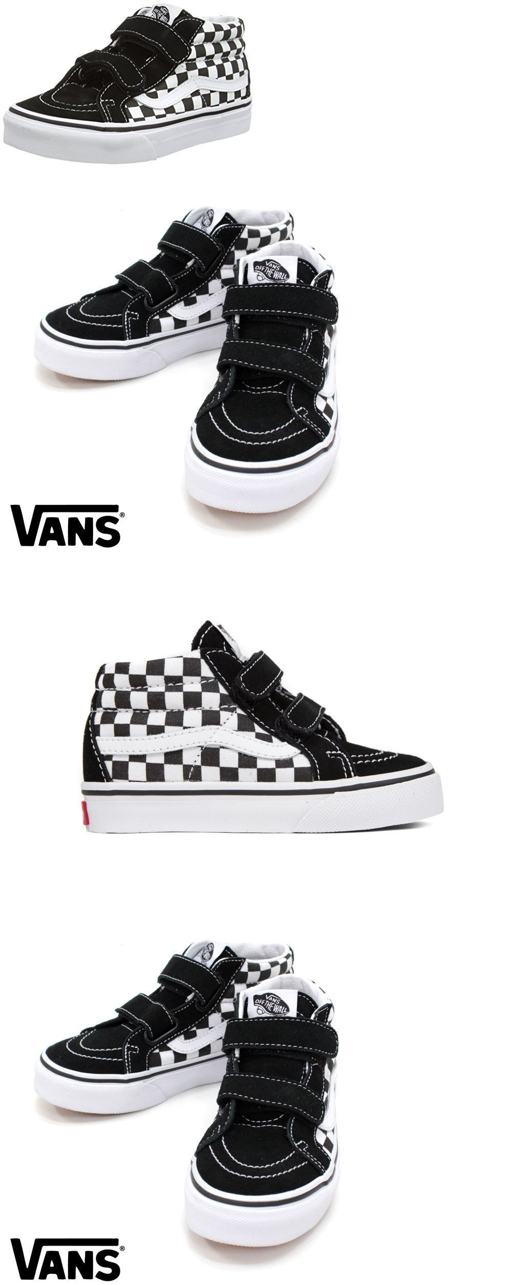 Baby Shoes Vans Sk8 Mid Reissue Checkers Board Black White