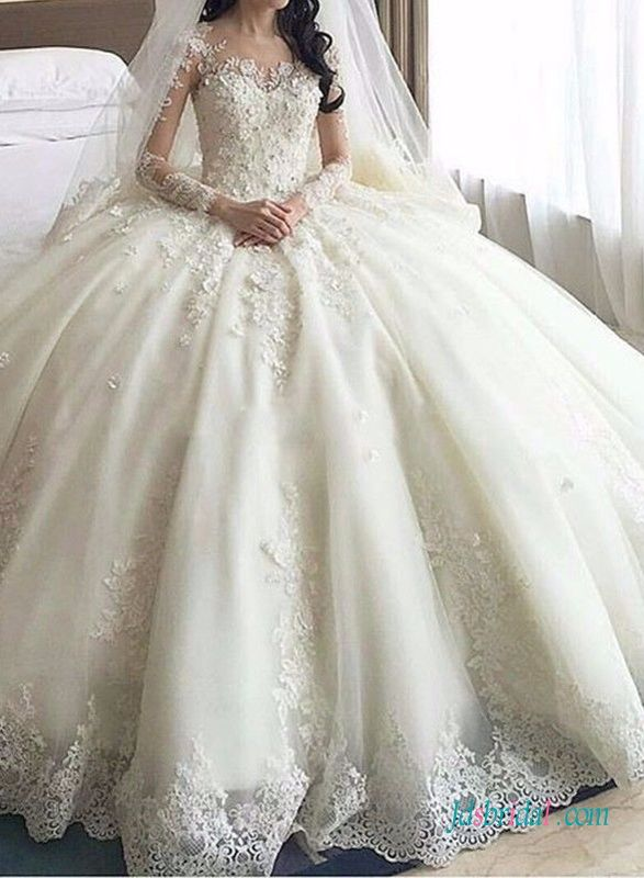 Dreamy Cathedral Train Princess Ball Gown Wedding Dress