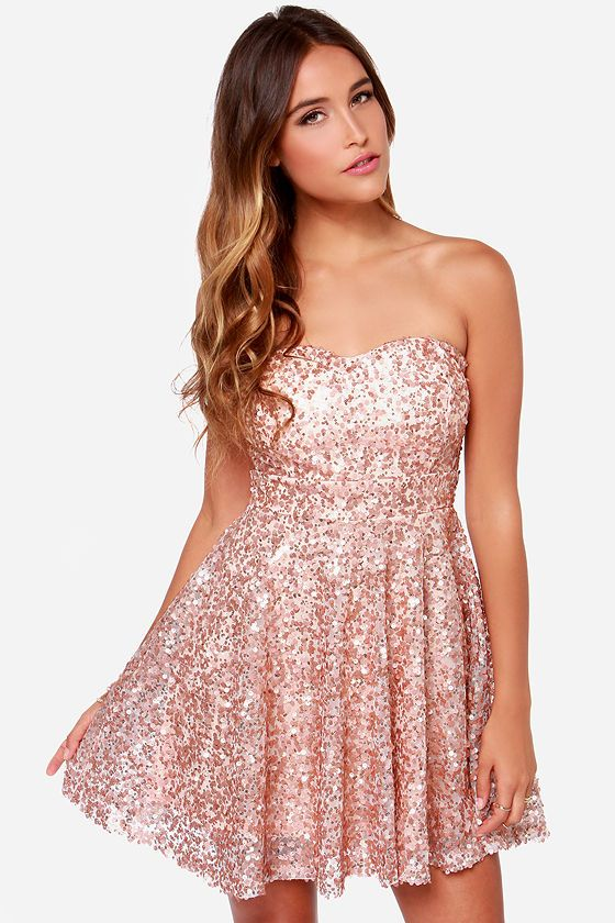 a055e9b3 Shine and Dandy Strapless Rose Gold Sequin Dress | Pretty Dresses ...