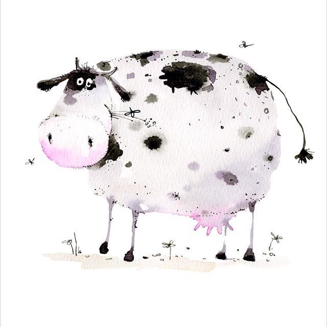 Cow Illustration Cartoon Watercolour Cow Illustration Cow