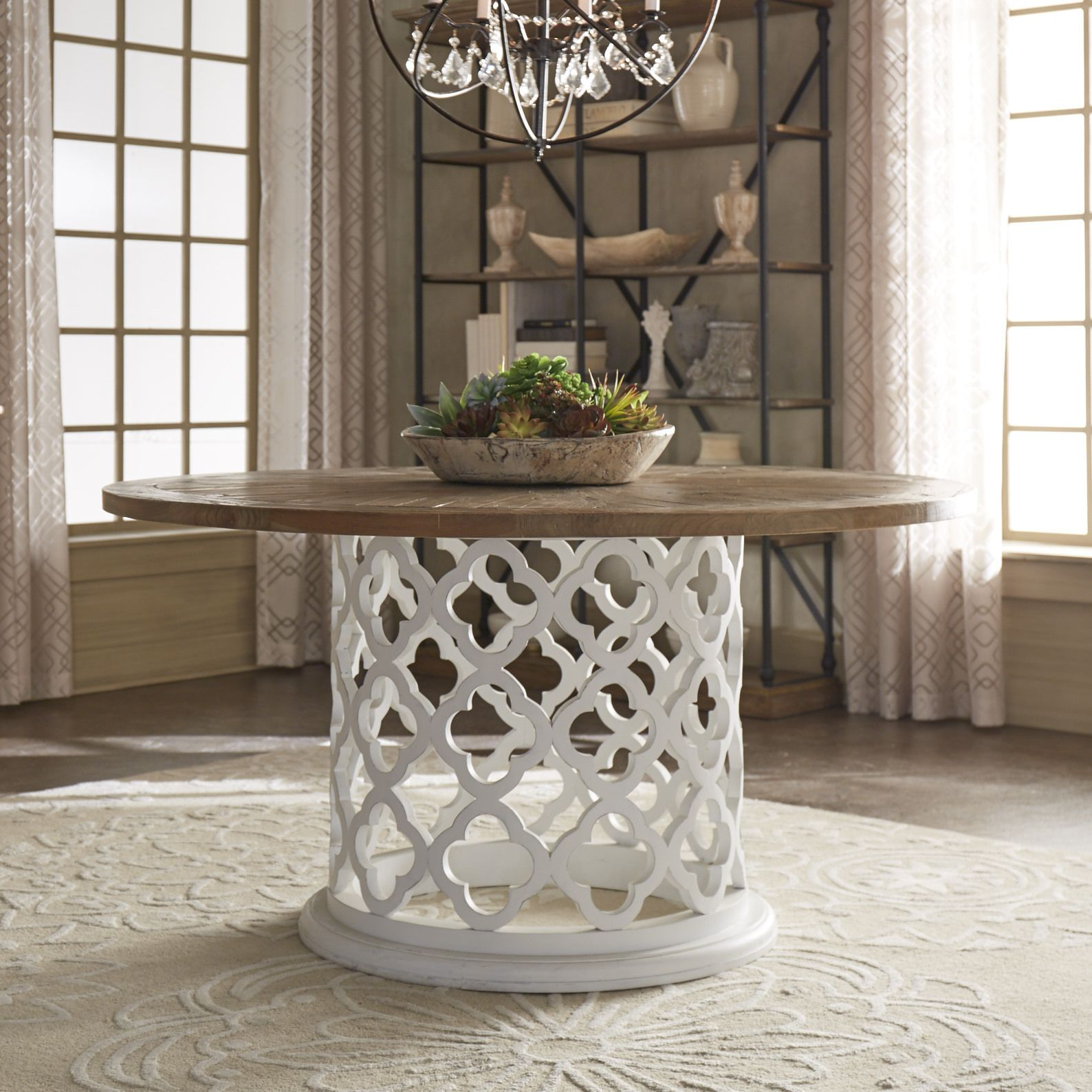 Vince Reclaimed Wood 60 Inch Moroccan Trellis Drum Dining Table By Inspire Q Artisan With Images Dining Table Round Wood Coffee Table Table