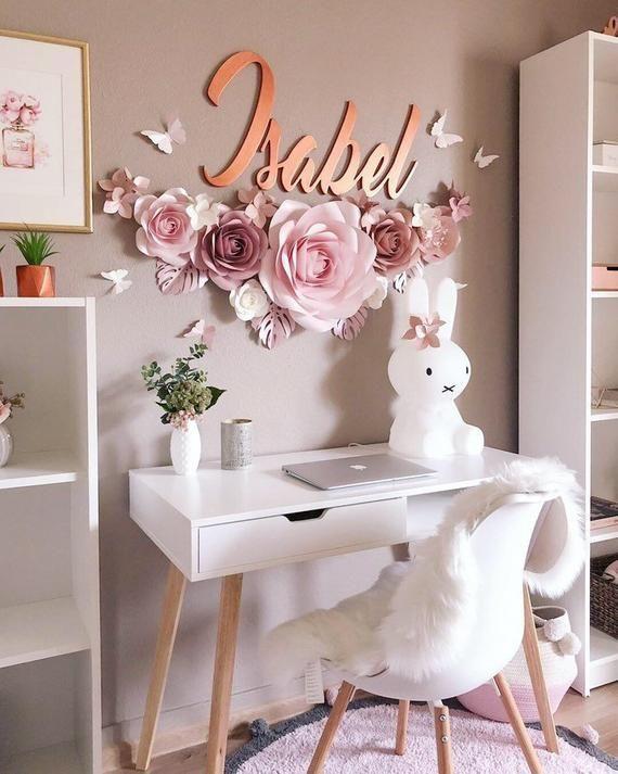Paper Flowers Set - Girls Nursery Wall Decor - Nursery Paper Flowers - Paper Flowers Wall Decor - Large Paper Flowers
