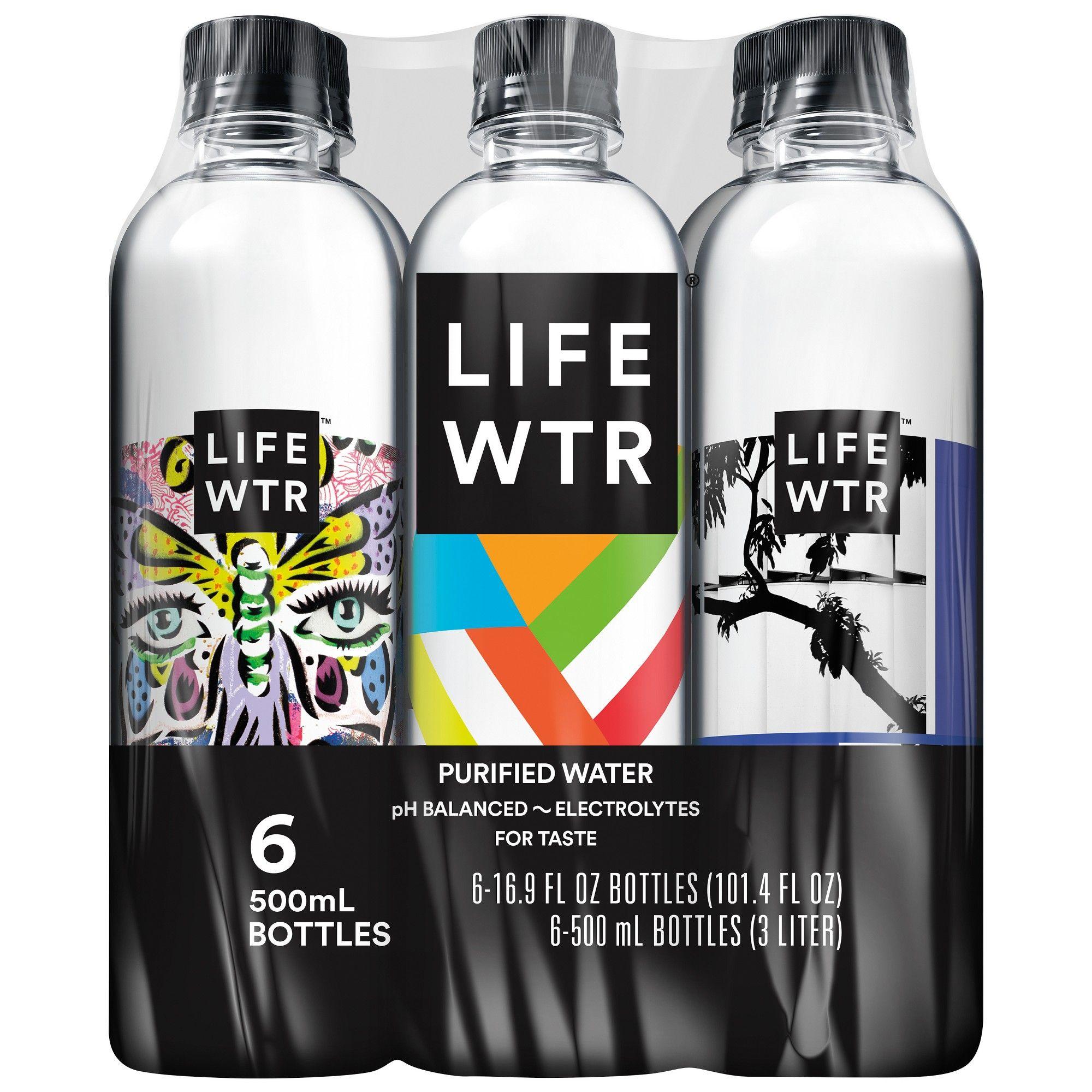 LIFEWTR Premium Purified Water 6pk/500ml Bottles Bottle