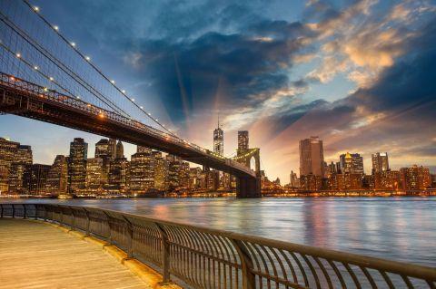 Фотообои Закат в Нью-Йорке | Горизонты манхэттена, Город ...