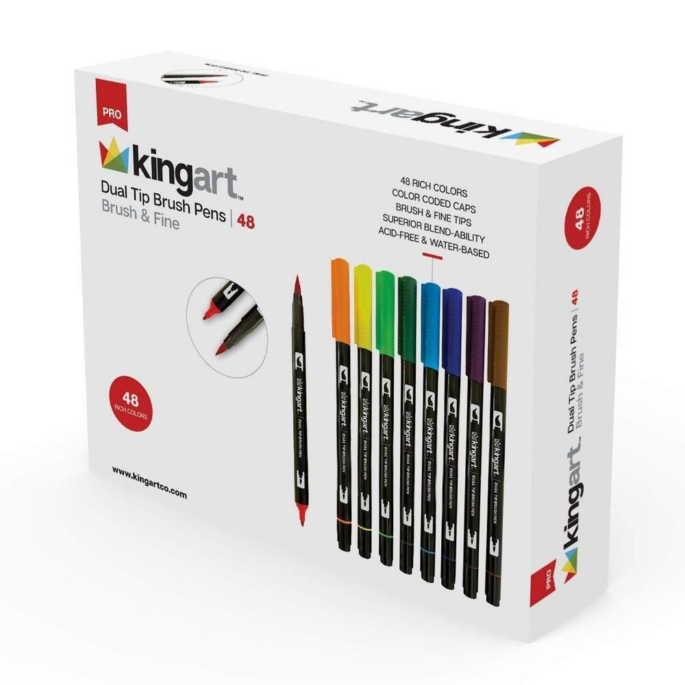 Kingart 445 48 Set Of 48 Dual Tip Brush Pens Unique Colors 48