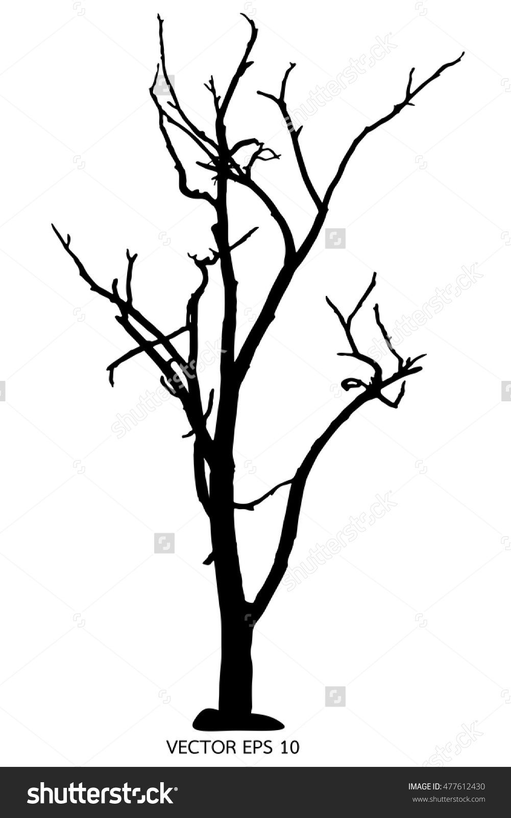 Tree Silhouette Dry Tree Or Dead Tree On White On Background