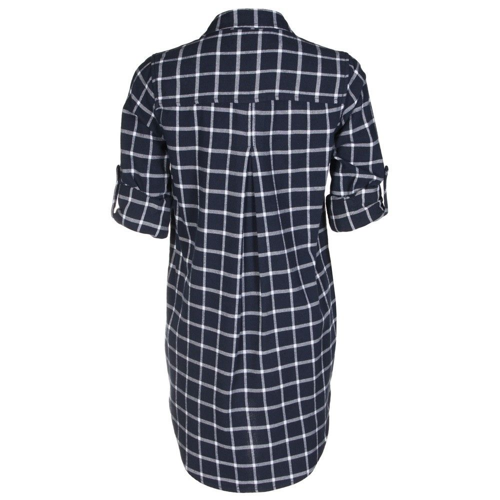 Velvet Heart rolled sleeve button up plaid top in navy and white at Marketplace on Broadway