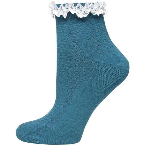 Dorothy Perkins Teal and Cream Lace Top Socks (£3.96) ❤ liked on Polyvore featuring intimates, hosiery, socks, blue, cream socks, tennis socks, short socks, lace socks and blue socks