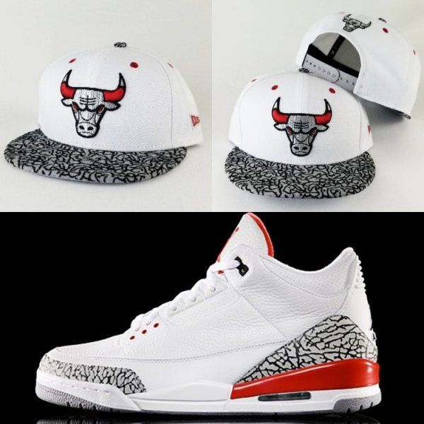 1c1ed899f759 Matching New Era NBA Chicago Bulls puzzle logo 9Fifty Snapback For Jordan 3  Black Cement