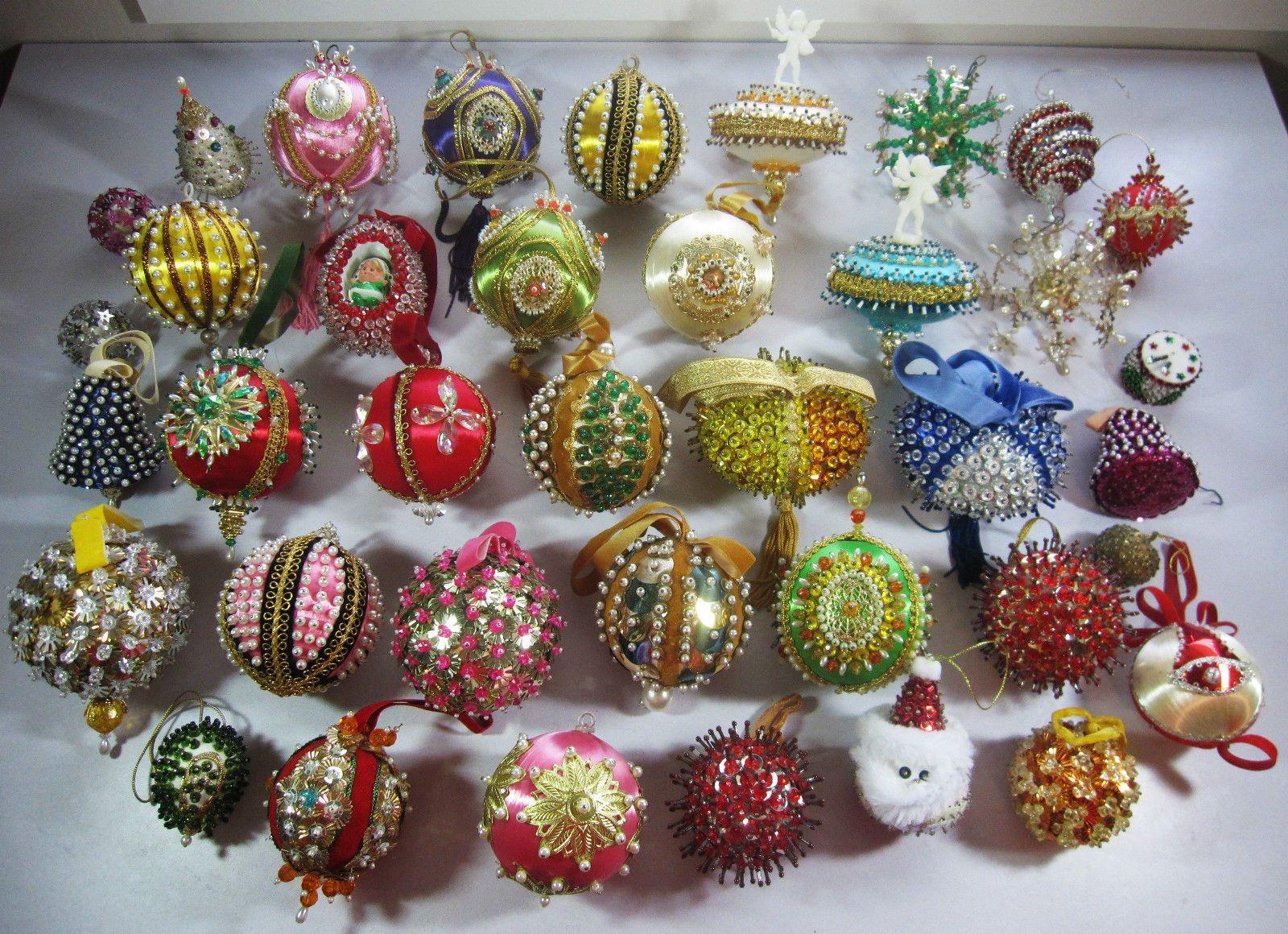 38 Vintage Sequin Beaded Satin Foam Ball Handmade Christmas Ornaments Lot Beaded Christmas Ornaments Fabric Christmas Ornaments Christmas Ornaments Homemade