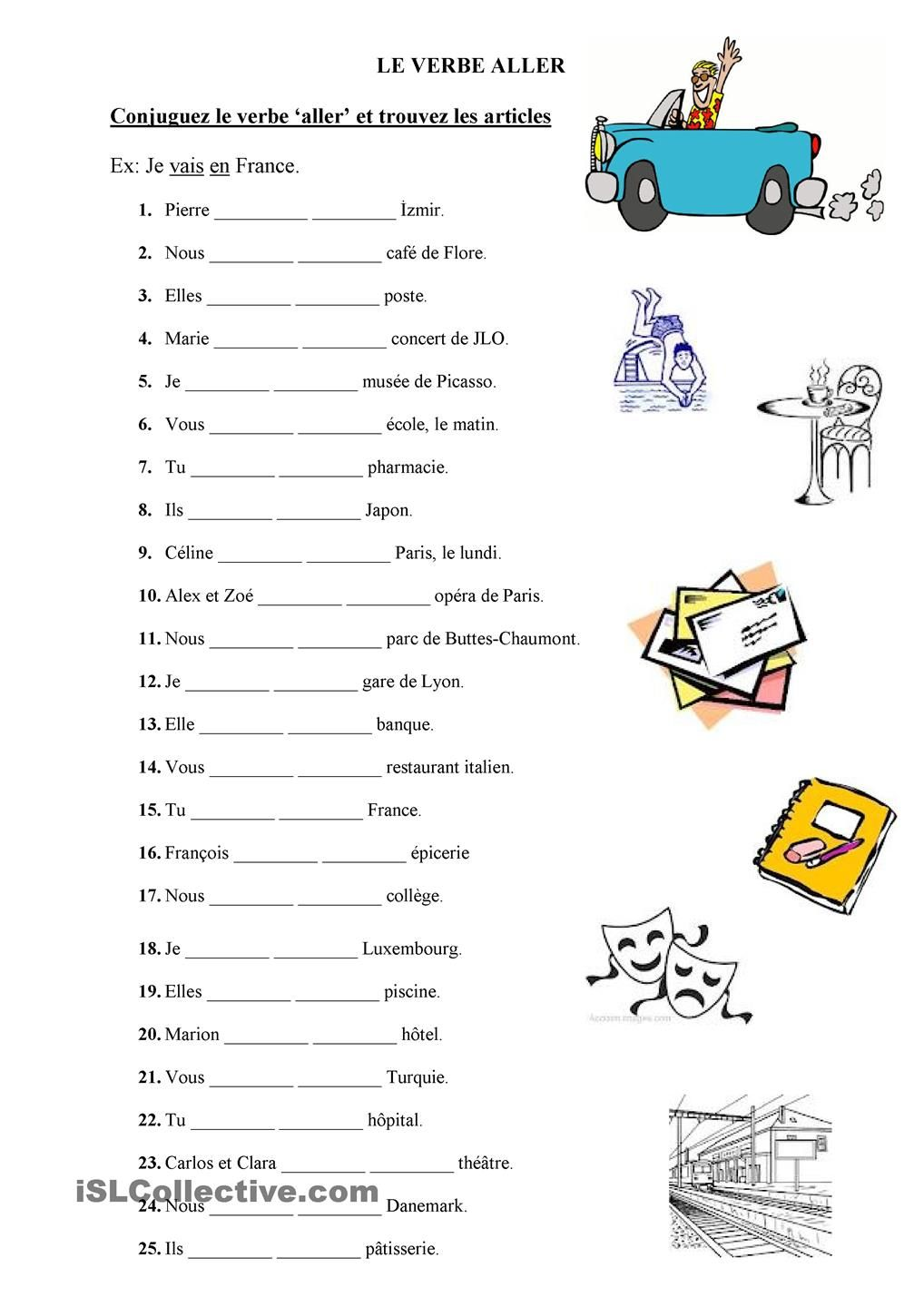 Le verbe aller language love pinterest teaching french worksheets robcynllc Image collections