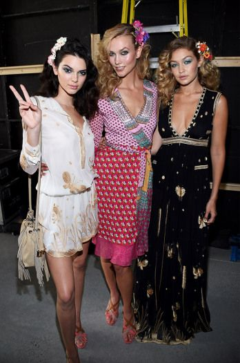 Kendall Jenner, Karlie Kloss and Gigi Hadid at Diane Von Furstenberg spring '16 runway show.