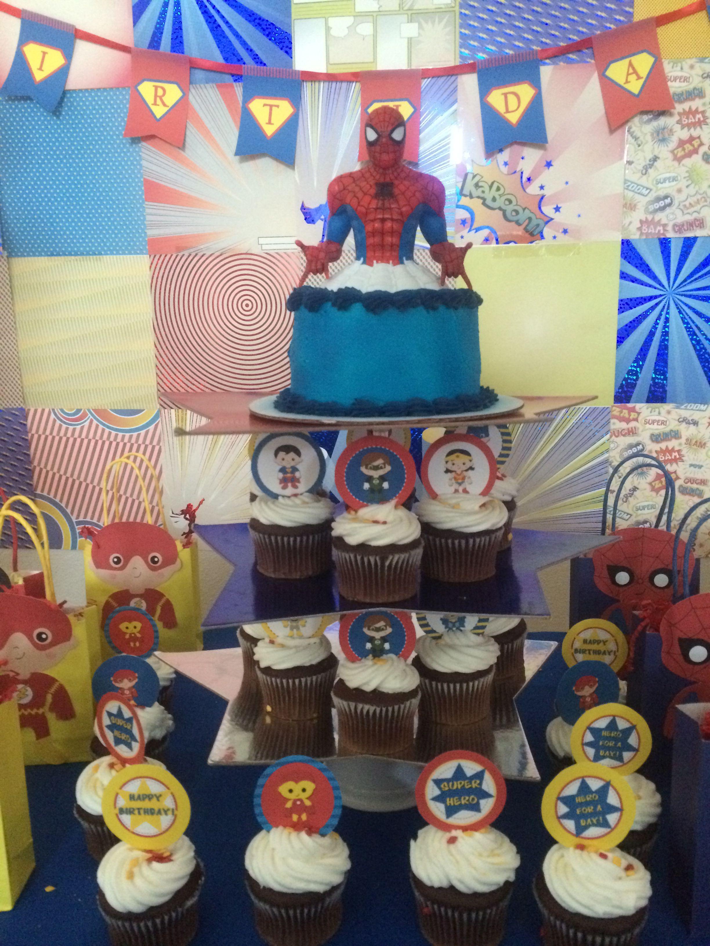 Superhero Cupcake Tower Bust Bank 5 At Walmart For The Top Cake