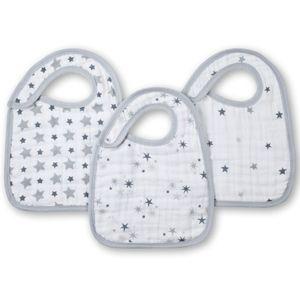 Bavoir en coton (par 3) étoiles grises aden + anais