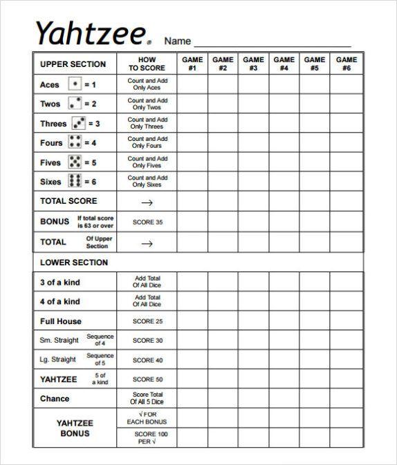 Smart image for printable yahtzee sheets