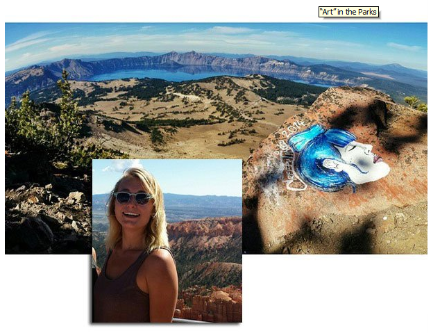 when people don't understand what is sacred.   Casey Nocket's recent cross-country jaunt during which she allegedly painted faces and sketches on rock formations in as many as 10 national parks, including Rocky Mountain National Park.